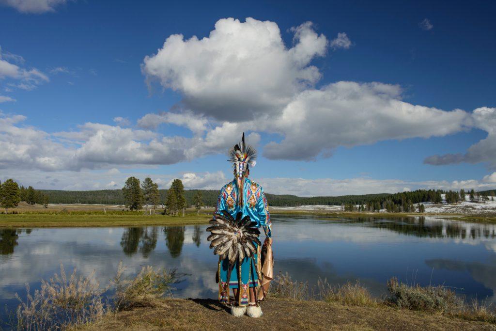 North America, USA, Rocky Mountains, Yellowstone, National Park, Hayden river,, Robert Yellowhawk, Lakota indian at river ...