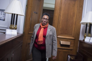 Rep. Marcia Fudge, D-Ohio, walks into her Rayburn Building office after talking with reporters about her possible run for House speaker on November 16, 2018. Photo By Tom Williams/CQ Roll Call