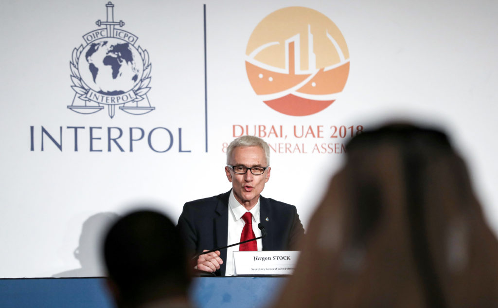 Jurgen Stock, Secretary-General of Interpol, speaks during a press conference in Dubai on November 21, 2018, after the organisation elected its new president during its 87th annual general assembly meeting. (Photo by KARIM SAHIB / AFP/Getty Images)