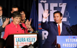 Democrat Laura Kelly (left) talks to her supporters after winning the governor's race at her election night party in Topeka, Kansas and Republican gubernatorial winner Ron DeSantis, along with wife Casey, speaks at his midterm election night party in Orlando, Florida November 6, 2018. Photos by Dave Kaup and Carlo Allegri/REUTERS