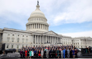 WASHINGTON, DC - NOVEMBER 14: Newly elected members of the House of Representatives pose for an official class photo outside the U.S. Capitol on November 14, 2018 in Washington, DC. Newly elected members of the House are in Washington this week for orientation meetings. (Photo by Win McNamee/Getty Images)