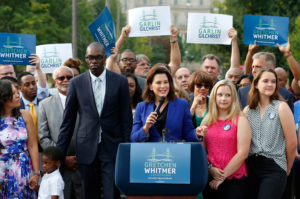 Democrat Gretchen Whitmer is seeking to beat her Republican challenger Bill Schutte to become the next governor of Michigan. The current governor, Rick Synder, is a Republican, as are 32 other governors in the U.S. Photo by Jeff Kowalsky/Reuters