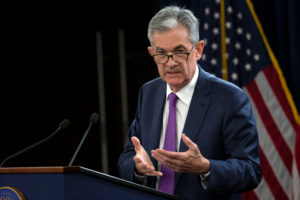 Federal Reserve Chairman Jerome Powell holds a news conference following a two-day Federal Open Market Committee (FOMC) policy meeting in Washington, D.C. Photo by Al Drago/Reuters