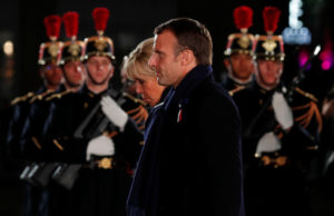 French President Emmanuel Macron and his wife Brigitte arrive to attend a concert to mark the 100th anniversary of the end of World War One in Strasbourg, France, November 4, Photo by Philippe Wojazer/Reuters