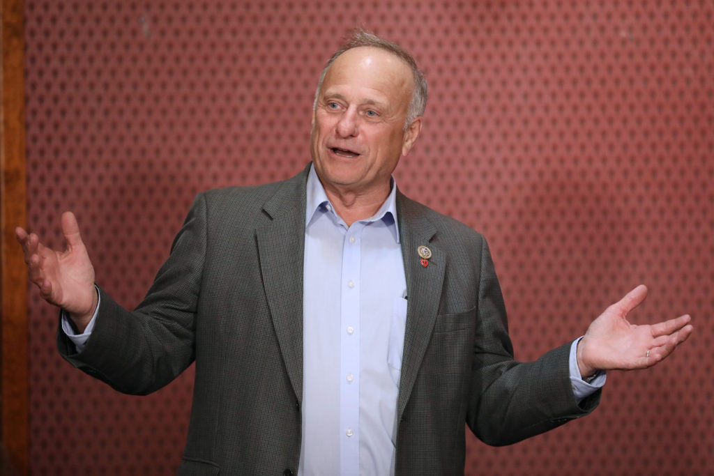 Republican Rep. Steve King talks to voters at the Second Street Emporium restaurant in Webster City, Iowa. Photo by Scott ...