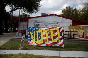 A banner urging people to vote in the midterm elections is displayed in Houston, Texas. Photo by Cathal McNaughton/Reuters