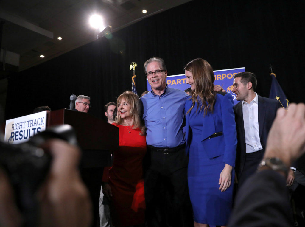 Republican senate candidate Mike Braun reacts after appearing at his election night party in Indianapolis, Indiana, during midterm elections. Bruan defeated Democratic Sen. Joe Donnelly in Tuesday's election. Photo by Chris Bergin/Reuters