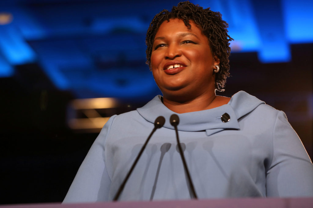 Stacey Abrams speaks to the crowd of supporters announcing they will wait till the morning for results of the mid-terms election at the Hyatt Regency in Atlanta, Georgia, U.S. Nov. 7, 2018. Photo by Lawrence Bryant/Reuters
