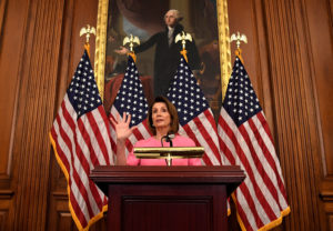 House Minority Leader Nancy Pelosi (D-Calif.) makes remarks a day after the 2018 midterm elections. Photo by Mike Theiler/Reuters