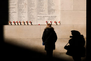 A visitor looks at engraved names of British and Commonwealth soldiers who died in World War One at the Menin Gate Memorial in Ypres, Belgium, on Nov. 8. Photo by Francois Lenoir/Reuters