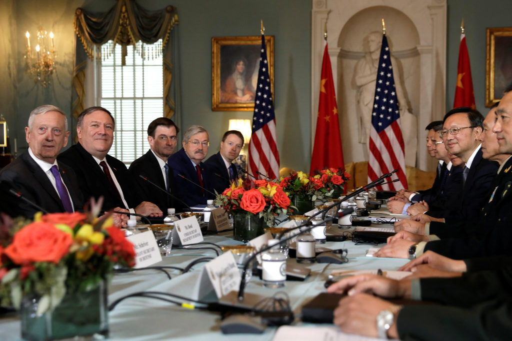 Defense Secretary James Mattis, Secretary of State Mike Pompeo meet with Chinese Minister of National Defense Gen. Wei Fenghe and Chinese Communist Party Office of Foreign Affairs Director Yang Jiechi during the second U.S. - China Diplomatic and Security Dialogue at the State Department in Washington, D.C. Photo by Yuri Gripas/Reuters