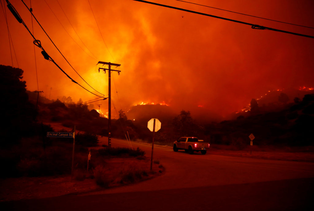 The Woolsey Fire burns in Malibu California
