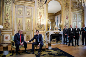 U.S. President Donald Trump and French President Emmanuel Macron meet at Elysee presidential palace, as part of the commemoration ceremony for Armistice Day, 100 years after the end of the First World War, in Paris, France, November 10, 2018. Christophe Petit Tesson/Pool via Reuters