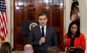 CNN White House correspondent Jim Acosta speaks in front the camera before a news conference held by President Donald Trump in the East Room of the White House in Washington, D.C. Photo by Kevin Lamarque/Reuters