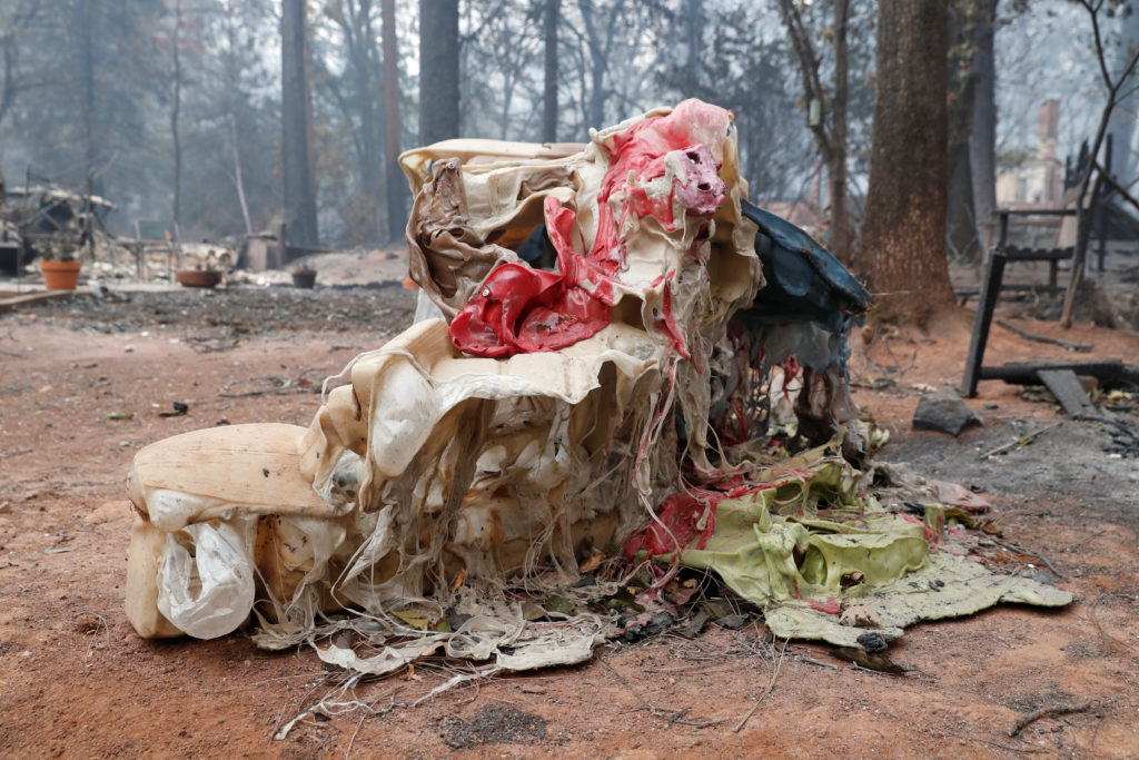A children's toy destroyed by the Camp Fire is seen in Paradise, California. Photo by Terray Sylvester/Reuters