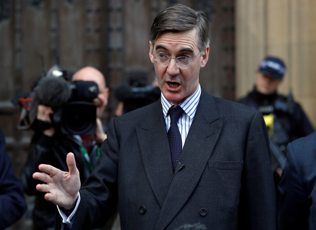 British Member of Parliament Jacob Rees-Mogg has sent a letter of no confidence in Prime Minister Theresa May. Photo by Peter Nicholls/Reuters