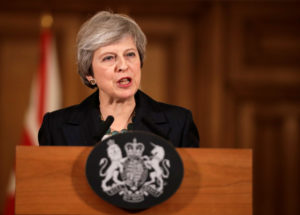 Britain's Prime Minister Theresa May holds a news conference at Downing Street in London on Nov. 15. Photo by Matt Dunham/Pool via Reuters