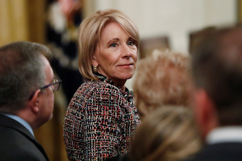 Education Secretary Betsy DeVos attends a ceremony where President Donald Trump awarded the 2018 Presidential Medals of Freedom at the White House in Washington D.C. Photo by Leah Millis/Reuters