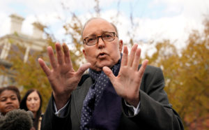 White House chief economic adviser Larry Kudlow speaks to reporters at the White House. Photo by Kevin Lamarque/Reuters