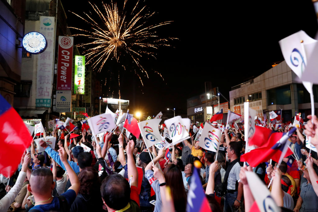 Fireworks released by supporters of Opposition Nationalist Kuomintang Party (KMT) Kaohsiung mayoral candidate Han Kuo-yu celebrate as their candidate announces a leading trend during local elections in the poll, in Kaohsiung, Taiwan November 24, 2018. Photo by Tyrone Siu/Reuters