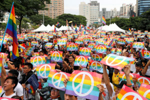 Same-sex marriage supporters take part in a lesbian, gay, bisexual and transgender (LGBT) pride parade after losing in the marriage equality referendum, in Kaohsiung, Taiwan November 25, 2018. Photo by Tyrone Siu/Reuters
