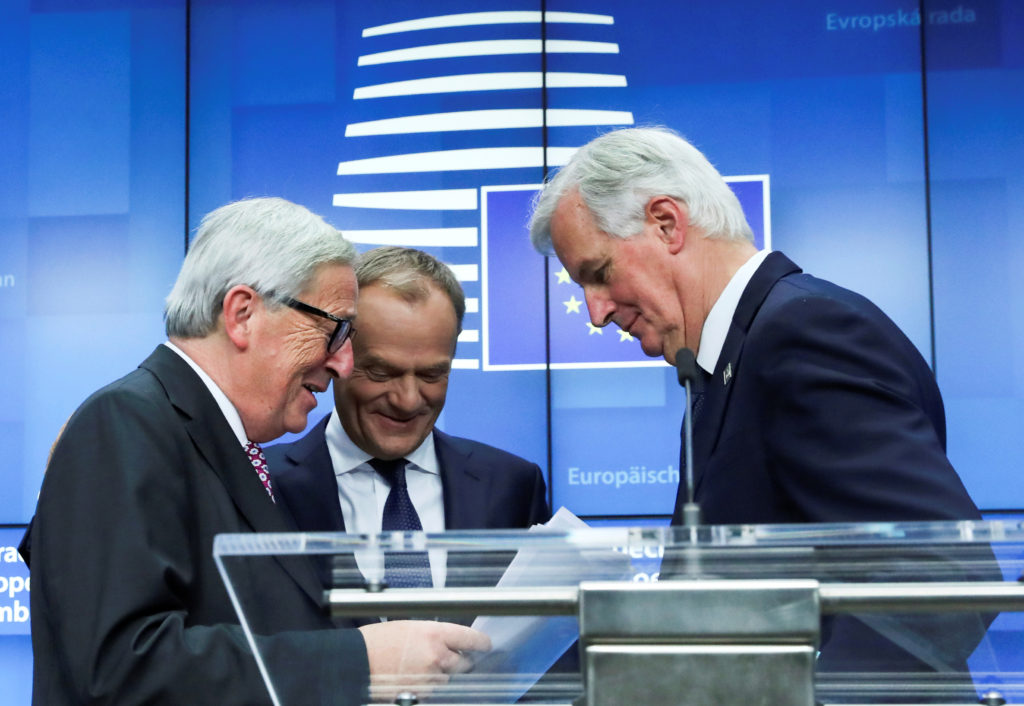 European Commission President Jean-Claude Juncker, European Council President Donald Tusk and European Union's chief Brexit negotiator Michel Barnier react during a news conference after the extraordinary EU leaders summit to finalise and formalise the Brexit agreement in Brussels, Belgium November 25, 2018. Photo by Yves Herman/Reuters