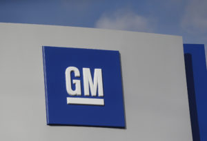 The GM logo is seen at the General Motors Warren Transmission Operations Plant, one of five plants it plans to close. Photo by Rebecca Cook/Reuters