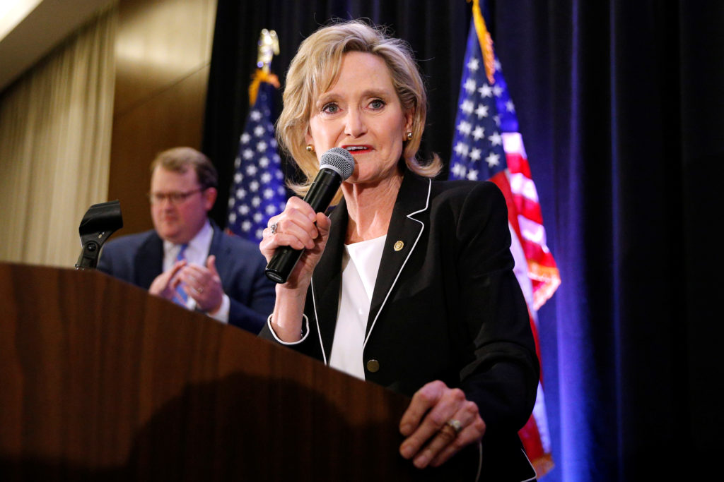 Republican Sen. Cindy Hyde-Smith speaks during an election night party in Jackson, Mississippi. Photo by Jonathan Bachman/Reuters