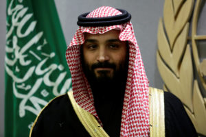 Saudi Arabia's Crown Prince Mohammed bin Salman Al Saud is seen during a meeting with U.N Secretary-General Antonio Guterres at the United Nations headquarters in the Manhattan borough of New York City. Photo by Amir Levy/Reuters