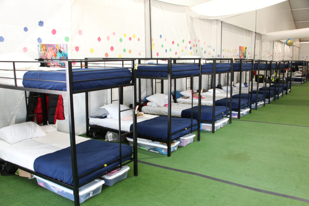Bunk beds are seen at a tent city set up to hold immigrant children separated from their parents or who crossed the U.S. border on their own in Tornillo, Texas, in this U.S. Department of Health and Human Services (HHS) image released on Oct. 12, 2018. Photo courtesy HHS/Handout via Reuters