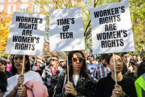 File photo of workers protesting outside Google offices in New York on Nov. 1. Photo by Jeenah Moon/Reuters