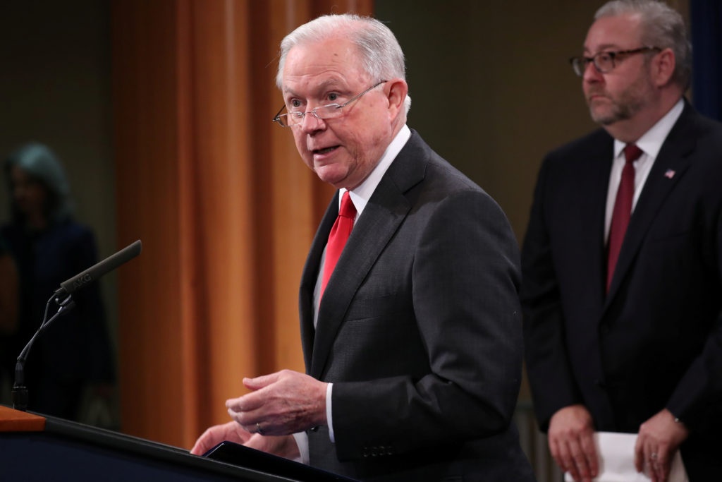Attorney General Jeff Sessions announces a criminal law enforcement action involving China during a news conference at the Justice Department in Washington Nov. 1, 2018. Photo by REUTERS/Jonathan Ernst