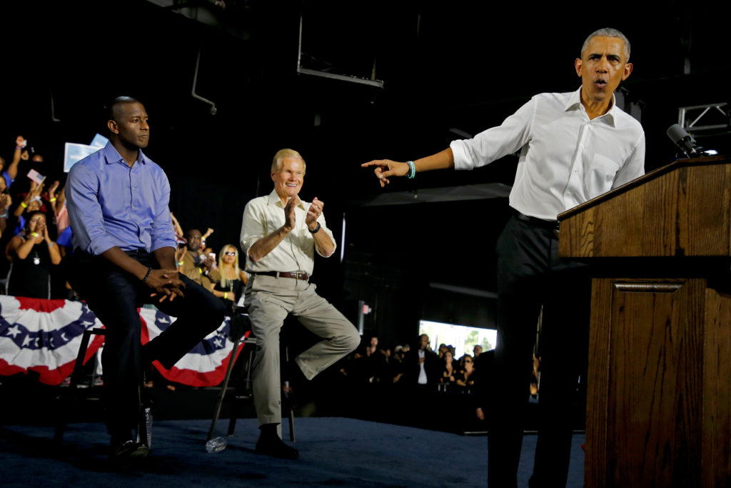 Former U.S. President Barack Obama campaigns for Democrats, U.S. Senator Bill Nelson and and Gubernatorial candidate Andrew Gillum in Miami, Florida, U.S. November 2, 2018.  Photo by Joe Skipper/Reuters