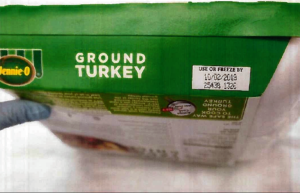 The products being recalled include 1-pound packages of raw, ground turkey that had a use-by date of October. Photo courtesy: USDA