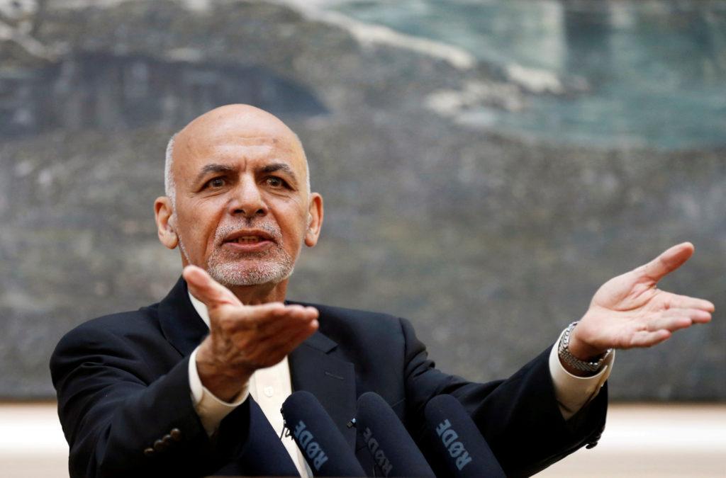 FILE PHOTO: Afghan President Ashraf Ghani speaks during a news conference in Kabul, Afghanistan July 15, 2018. REUTERS/Moh...