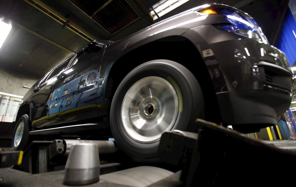 A Chevrolet Tahoe undergoes testing at the General Motors Assembly Plant in Arlington, Texas June 9, 2015. General Motors ...