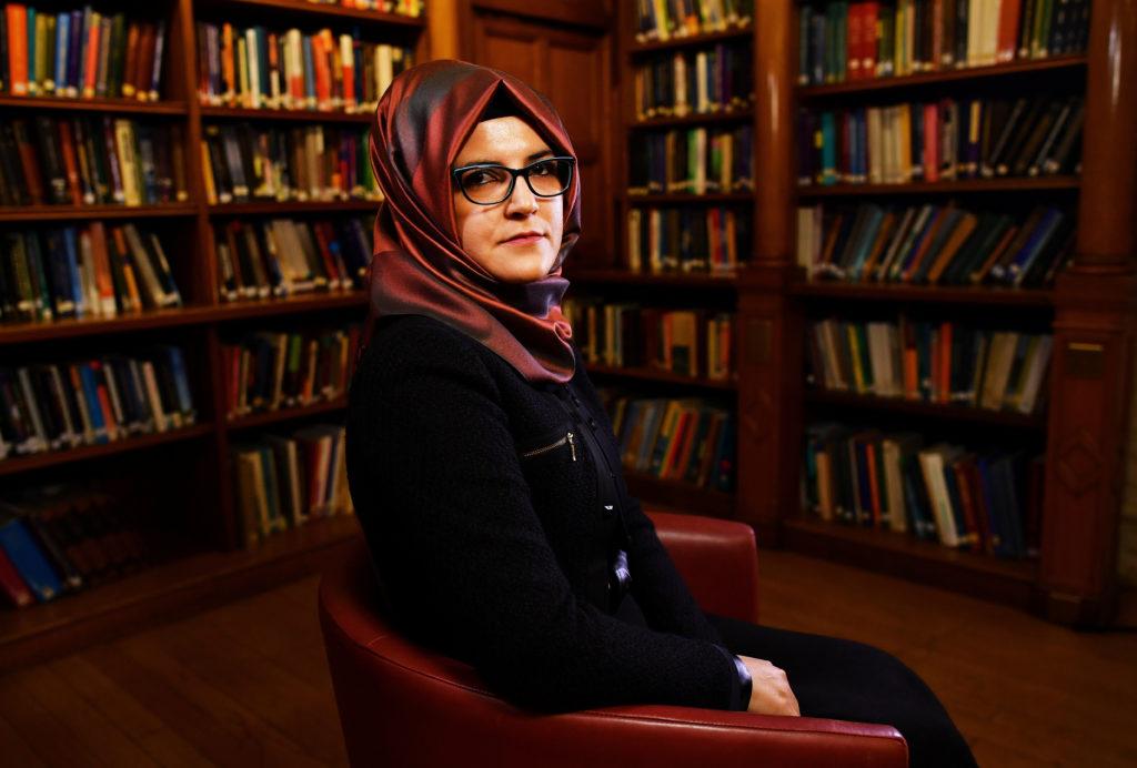 Hatice Cengiz, fiancee of slain Saudi journalist Jamal Khashoggi, is seen during an interview with Reuters in London, Brit...