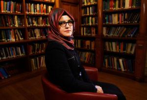 Hatice Cengiz, fiancee of slain Saudi journalist Jamal Khashoggi, is seen during an interview with Reuters in London, Britain, October 29, 2018. REUTERS/Dylan Martinez