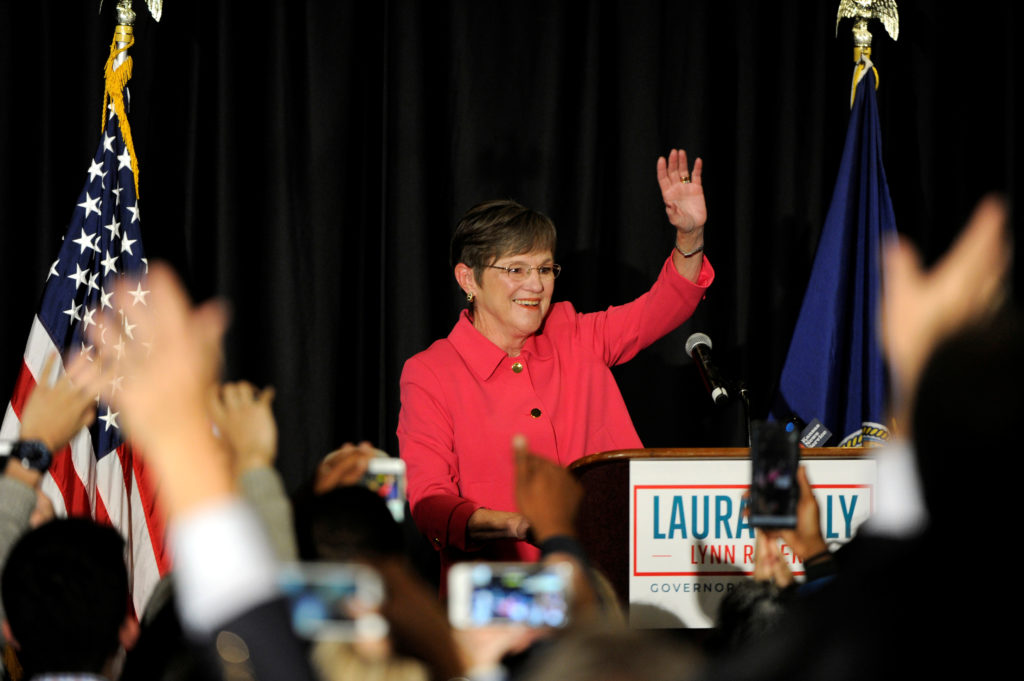Democrat Laura Kelly talks to her supporters after winning the governor's race at her election night party in Topeka, Kansas, U.S. November 6, 2018. REUTERS/Dave Kaup