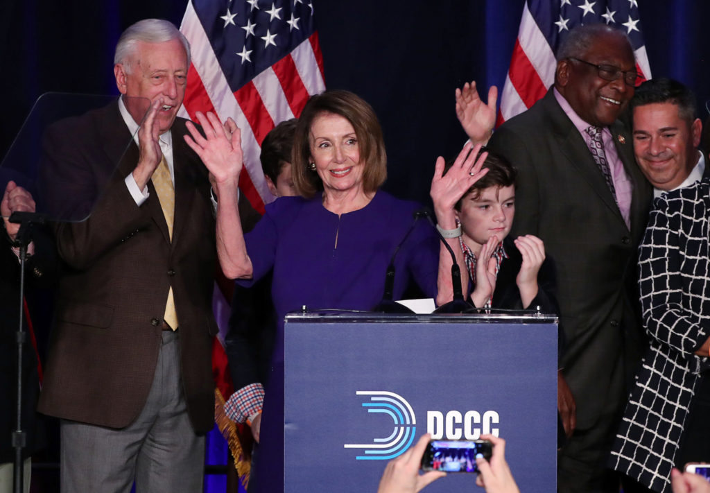 Image result for images of victory of Democrats with Nancy Pelosi on Nov. 6, 2018
