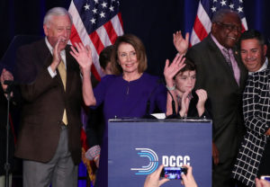 U.S. House Minority Leader Nancy Pelosi celebrates the Democrats winning a majority in the U.S. House of Representatives during a Democratic midterm election night party in Washington, U.S. November 6, 2018. Photo by REUTERS/Jonathan Ernst