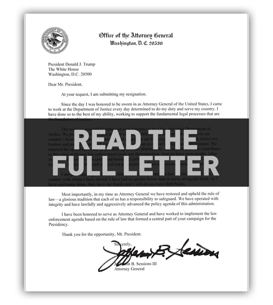read attorney general jeff sessions full letter to trump at your
