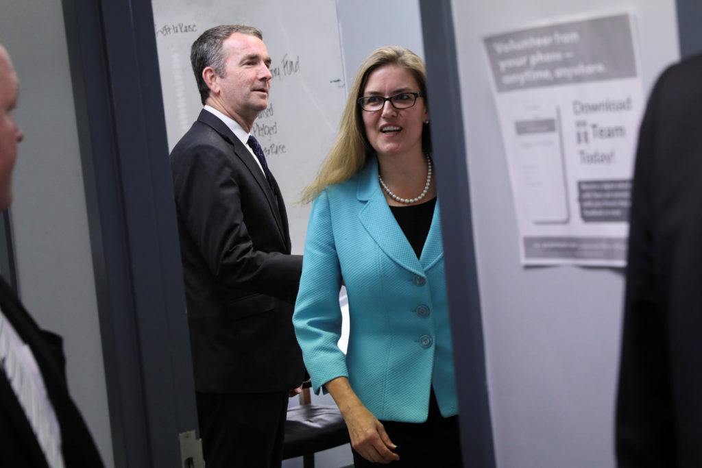 Virginia Democratic candidate for U.S. Representative Jennifer Wexton and Virginia Governor Ralph Northam arrive to speak at a campaign rally in Sterling, Virginia, U.S. October 30, 2018. REUTERS/Jonathan Ernst