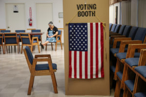 A voter waits for her party to cast their midterm election ballots at the Sisters of The Company of Mary in Tustin, California, in November 2018. Photo by Kyle Grillot/Reuters