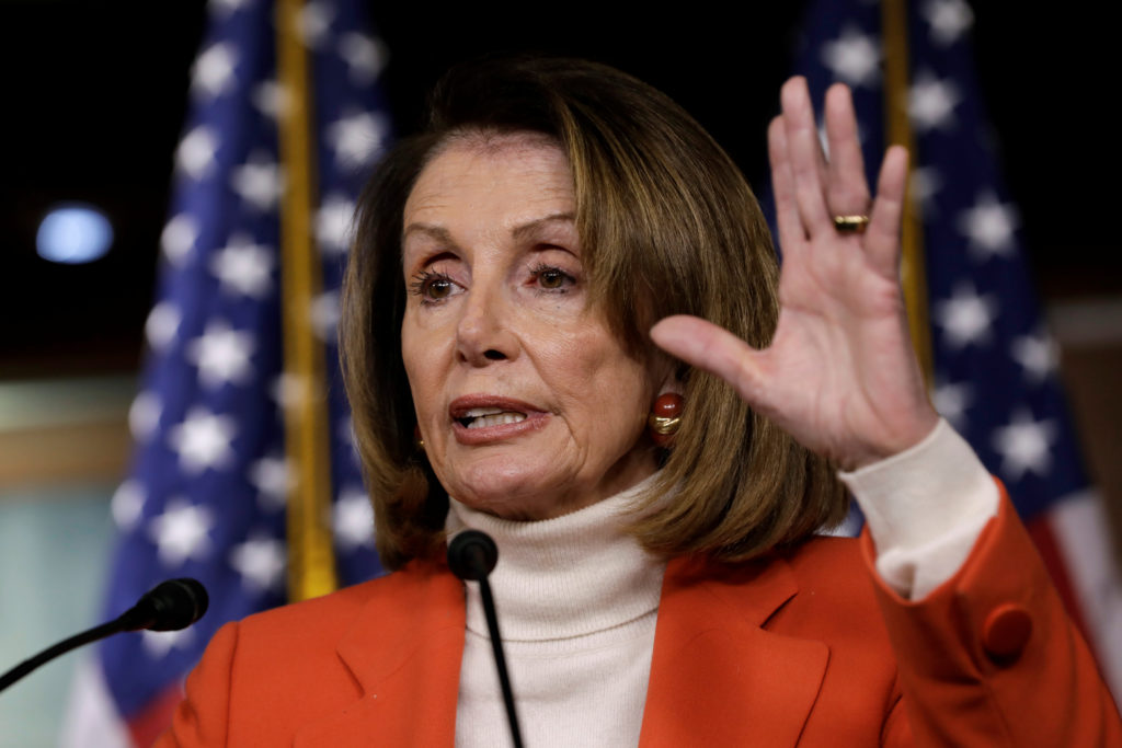 House Minority Leader Nancy Pelosi (D-CA) speaks during her weekly news conference on Capitol Hill in Washington, U.S., No...