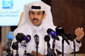 Saad al-Kaabi, chief executive of Qatar Petroleum, gestures as he speaks to reporters in Doha, Qatar, July 4, 2017. Photo by: Naseem Zeitoon/Reuters/File Photo