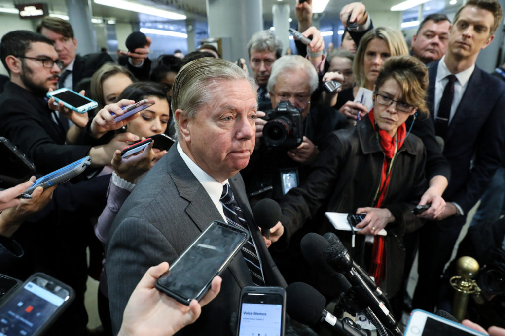 U.S. Senator Lindsey Graham (R-SC) speaks to reporters after attending a closed-door briefing, on the death of the journal...