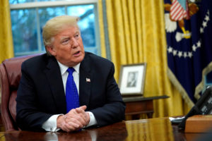 President Donald Trump sits for an exclusive interview with Reuters journalists in the Oval Office at the White House in Washington, D.C. Photo by Jonathan Ernst/Reuters
