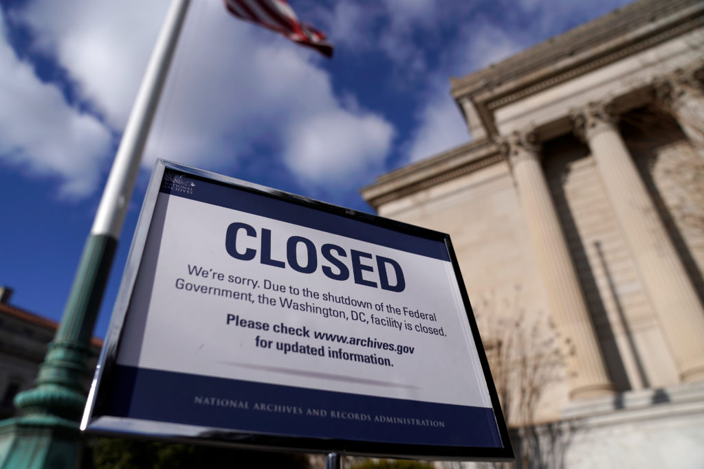 The National Archive closed due to a partial federal government shutdown in Washington on Dec. 22, 2018. Photo by Joshua R...