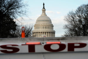 A security barricade is placed in front of the U.S. Capitol on the first day of a partial federal government shutdown in Washington, D.C. Photo by Joshua Roberts/Reuters